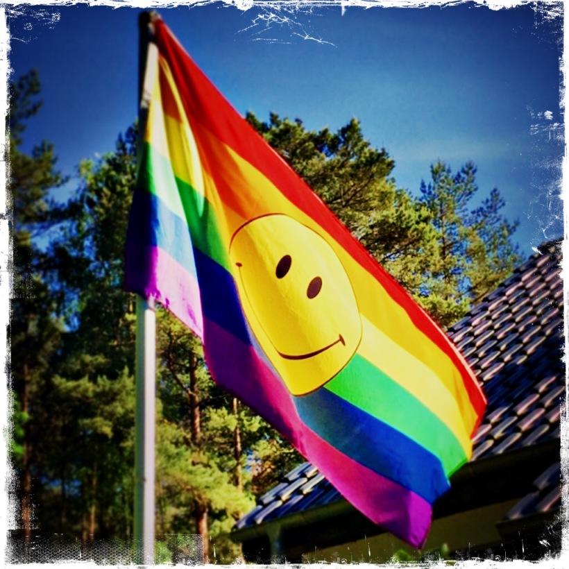 Regenbogenfahne mit Smiley © Sandra Grüning